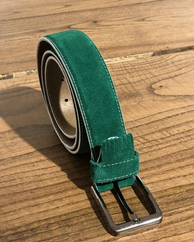 Green Suede Leather Belt by GentWith.com with Free Shipping