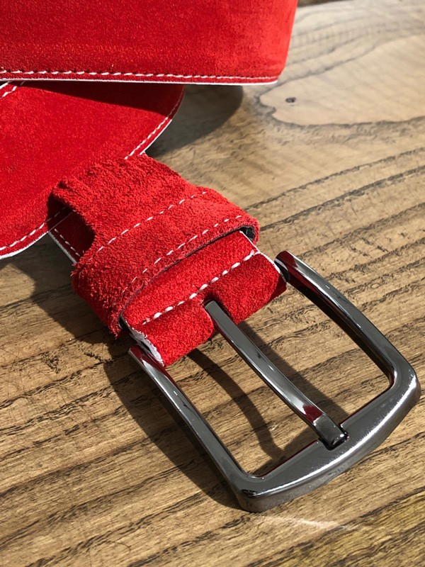 Red Suede Leather Belt by GentWith.com with Free Shipping