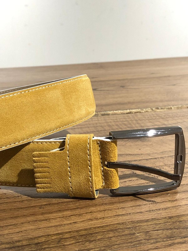 Yellow Suede Leather Belt by GentWith.com with Free Shipping