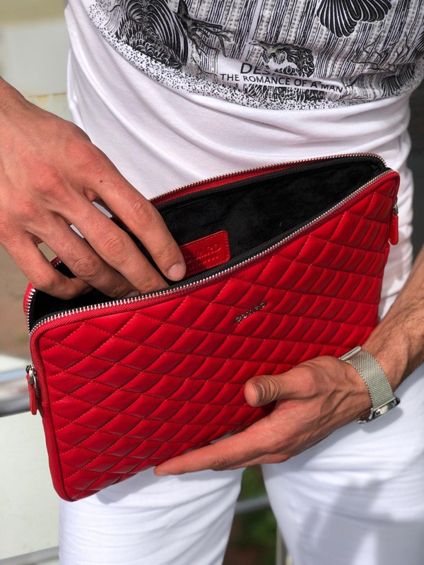 Red Leather Clutch Bag by GentWith.com with Free Shipping