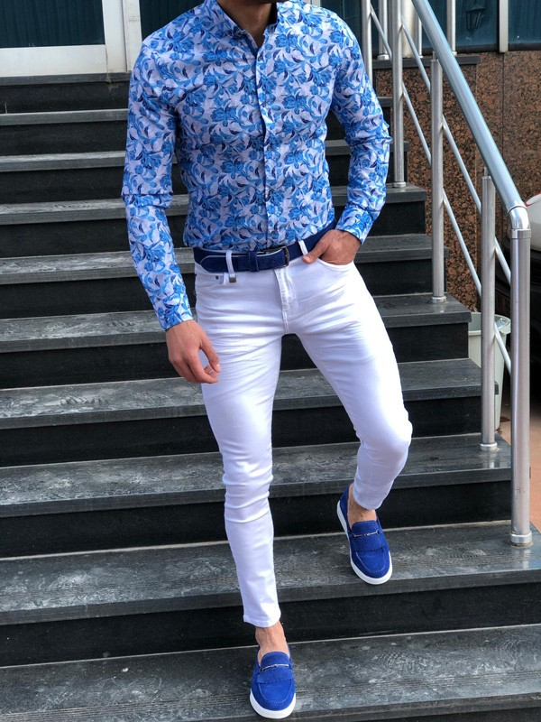 Turquoise Slim Fit Casual Shirt by GentWith.com with Free Shipping