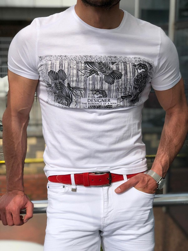 White Slim Fit Designer T-Shirt by GentWith.com with Free Shipping