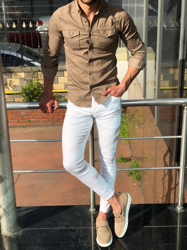 Beige Slim Fit Denim Shirt by GentWith.com with Free Shipping