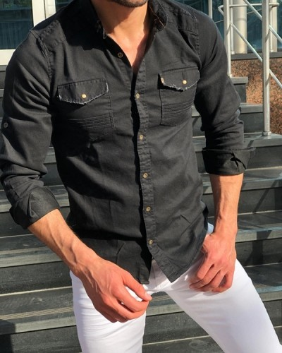 Black Slim Fit Denim Shirt by GentWith.com with Free Shipping