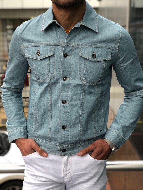 Blue Slim Fit Denim Jacket by GentWith.com with Free Shipping