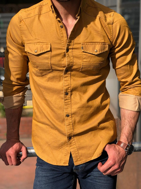 Camel Slim Fit Denim Shirt by GentWith.com with Free Shipping