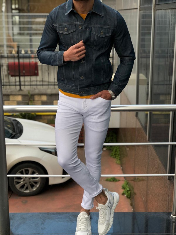 Navy Blue Slim Fit Denim Jacket by GentWith.com with Free Shipping