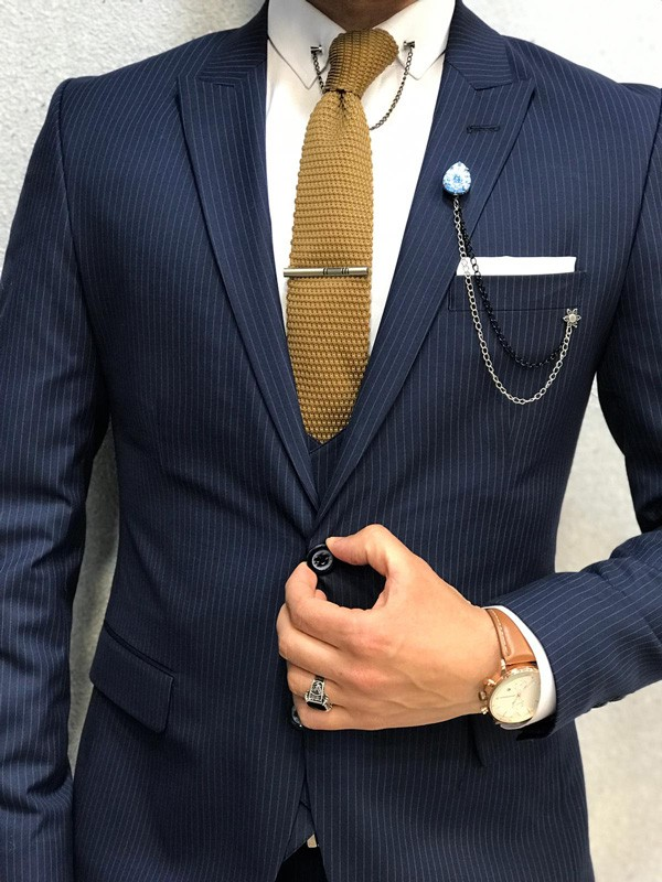 Blue Slim Fit Striped Suit by GentWith.com with Free Shipping