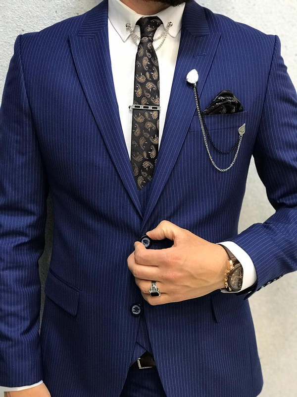 Sax Slim Fit Striped Suit by GentWith.com with Free Shipping