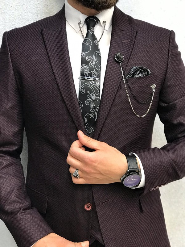 Wine Slim Fit Suit by GentWith.com with Free Shipping