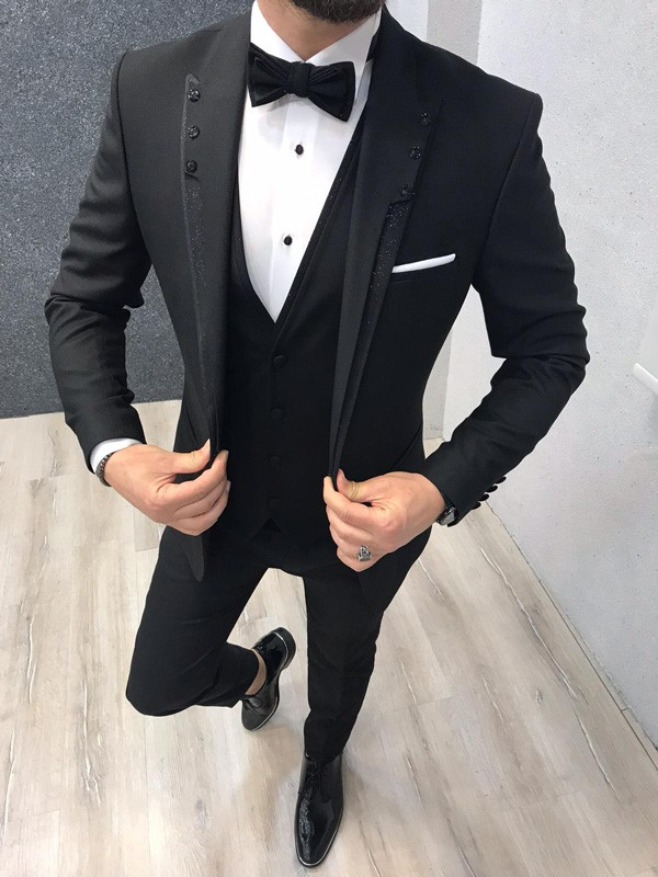 Slim Fit Black Tuxedo by GentWith.com with Free Shipping