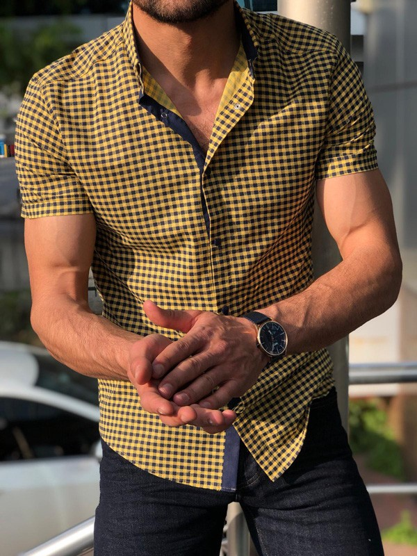 Yellow Short Sleeve Button Down Shirt by GentWith.com