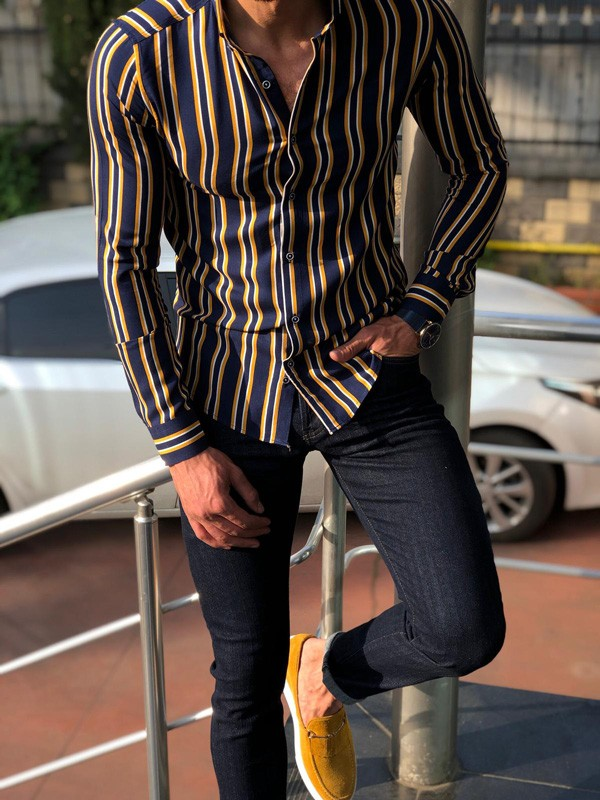 Navy Blue Slim Fit Striped Casual Shirt by GentWith.com