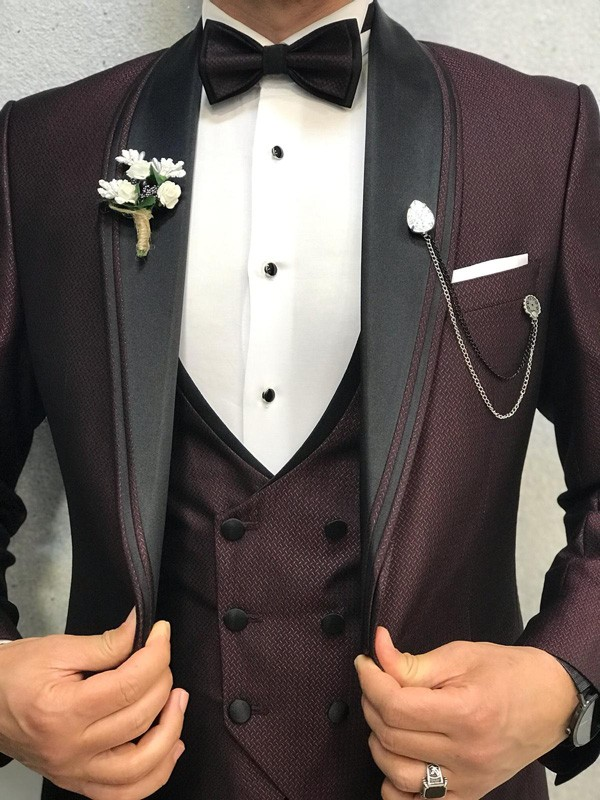 Claret Red Slim Fit Shawl Collar Tuxedo by GentWith | Free Shipping