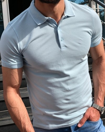Blue Slim Fit Polo Shirt by GentWith.com with Free Shipping
