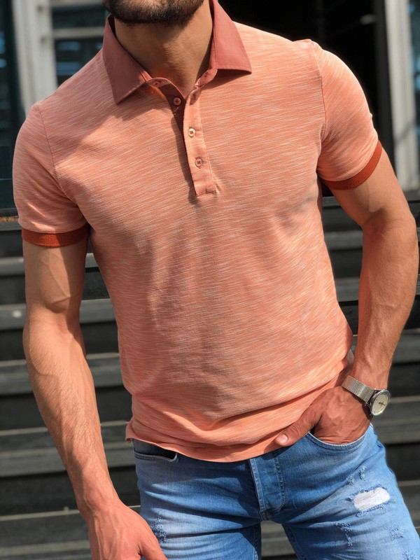 Coral Slim Fit Polo Shirt by GentWith.com with Free Shipping