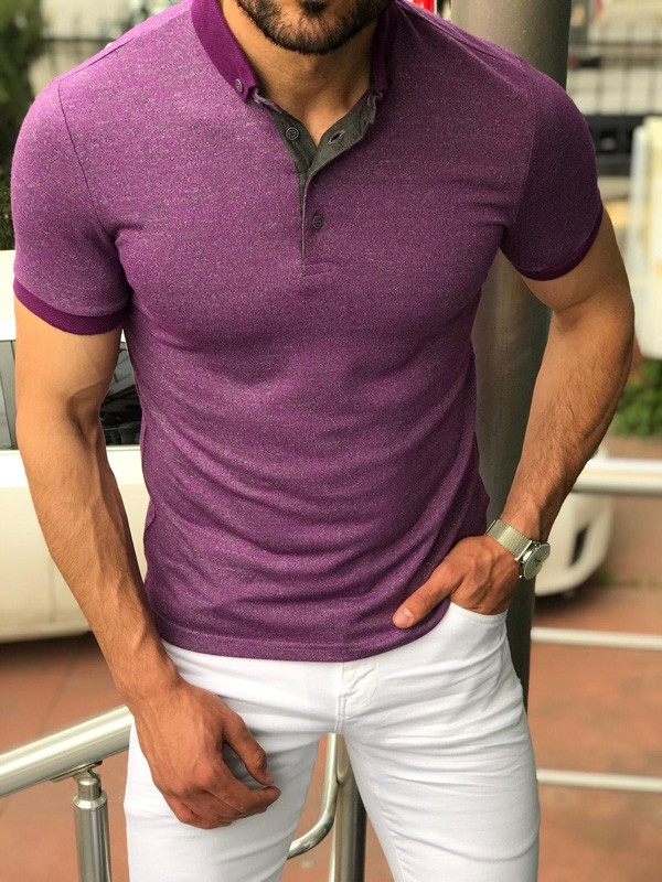Purple Slim Fit Polo Shirt by GentWith.com with Free Shipping