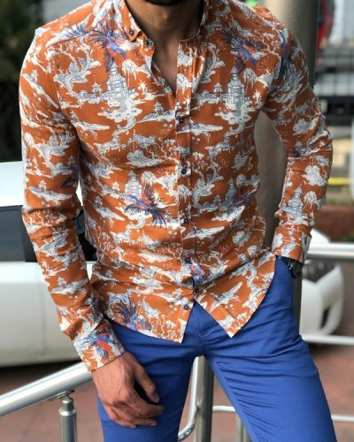 Orange Slim Fit Casual Shirt by GentWith.com with Free Shipping