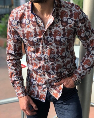 Tile Slim Fit Casual Shirt by GentWith.com with Free Shipping