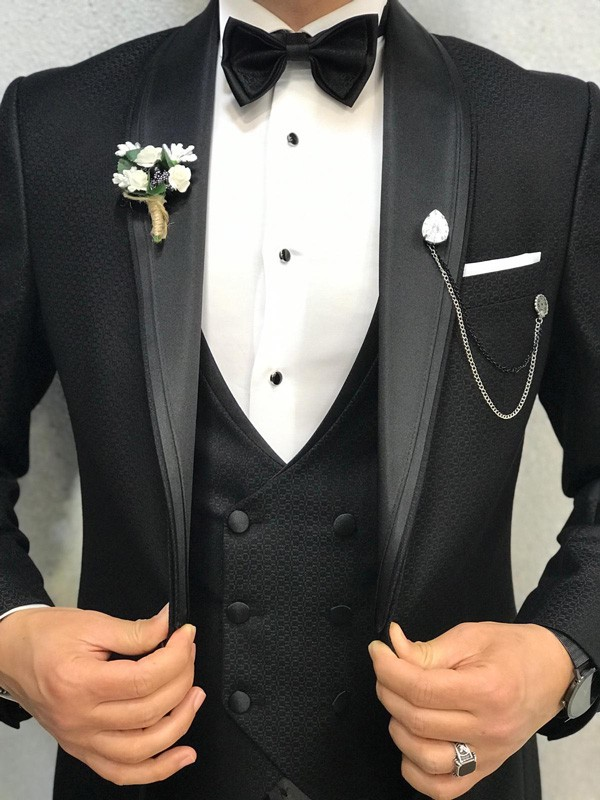 Black Slim Fit Shawl Collar Tuxedo by GentWith.com | Free Shipping