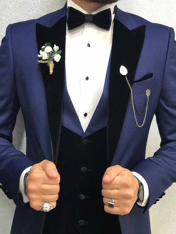 Blue Slim Fit Tuxedo by GentWith.com with Free Shipping