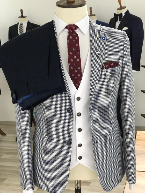 Navy Blue Slim Fit Plaid Suit by GentWith.com with Free Shipping