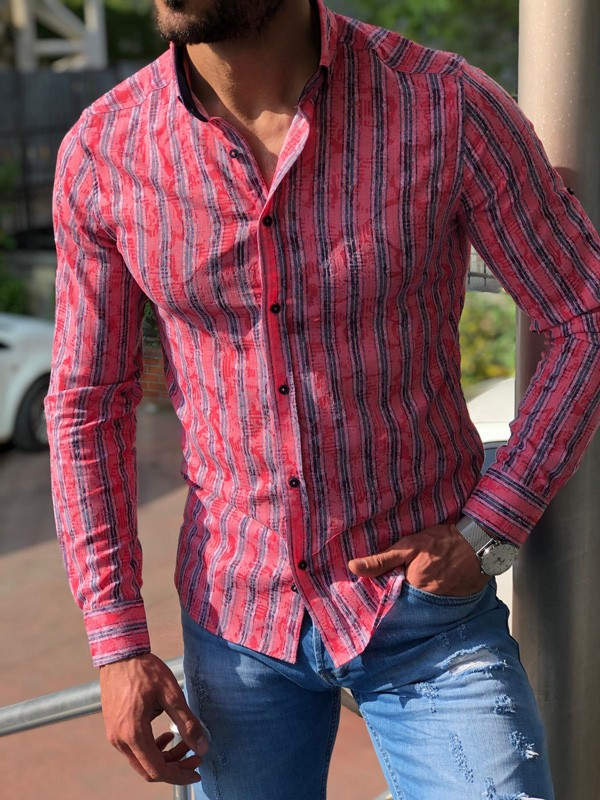 Pink Slim Fit Striped Casual Shirt by GentWith.com | Free Shipping
