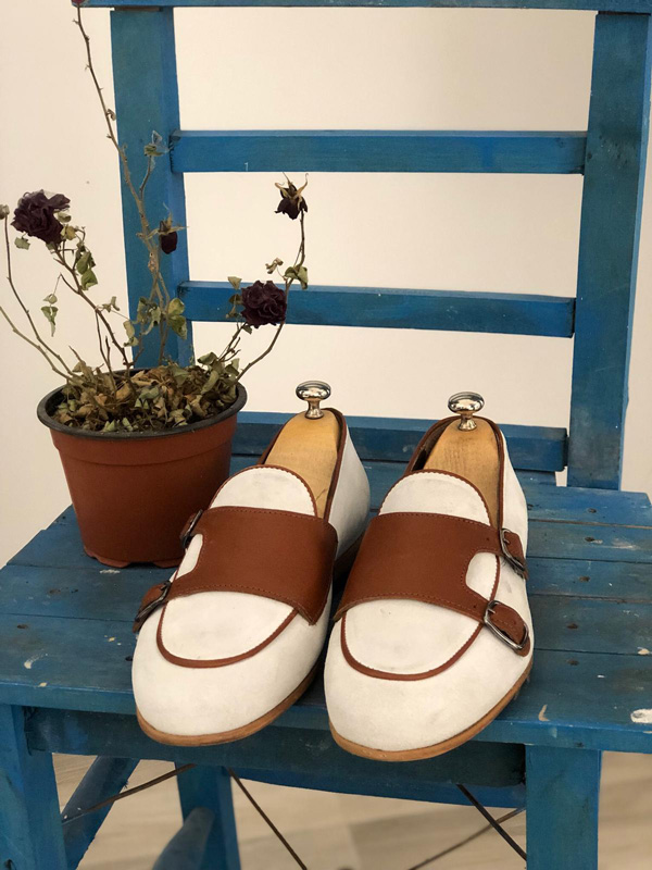 White Suede Monk Strap Loafer by GentWith.com with Free Shipping