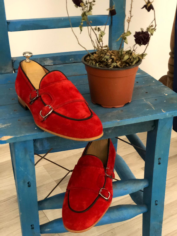 Red Suede Monk Strap Loafer by GentWith.com with Free Shipping