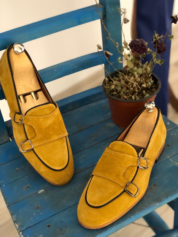 Yellow Suede Monk Strap Loafer by GentWith.com with Free Shipping