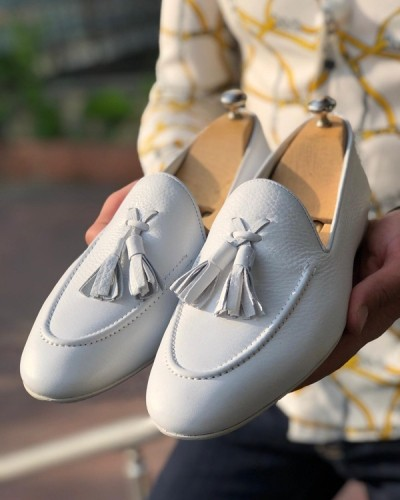 White Tassel Loafer by GentWith.com with Free Shipping