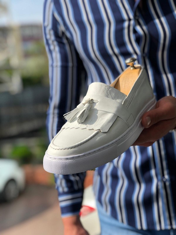 White Tassel Espadrille Loafer by GentWith.com with Free Shipping