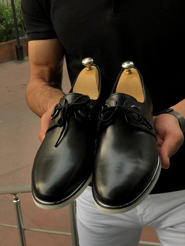 Black Lace Up Oxford by GentWith.com with Free Shipping