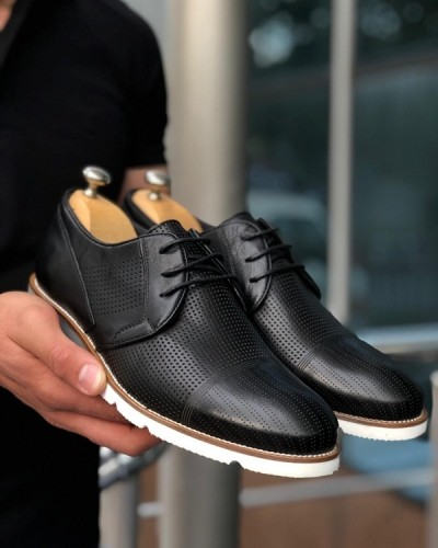 Black Laced Cap Toe Oxford by GentWith.com with Free Shipping