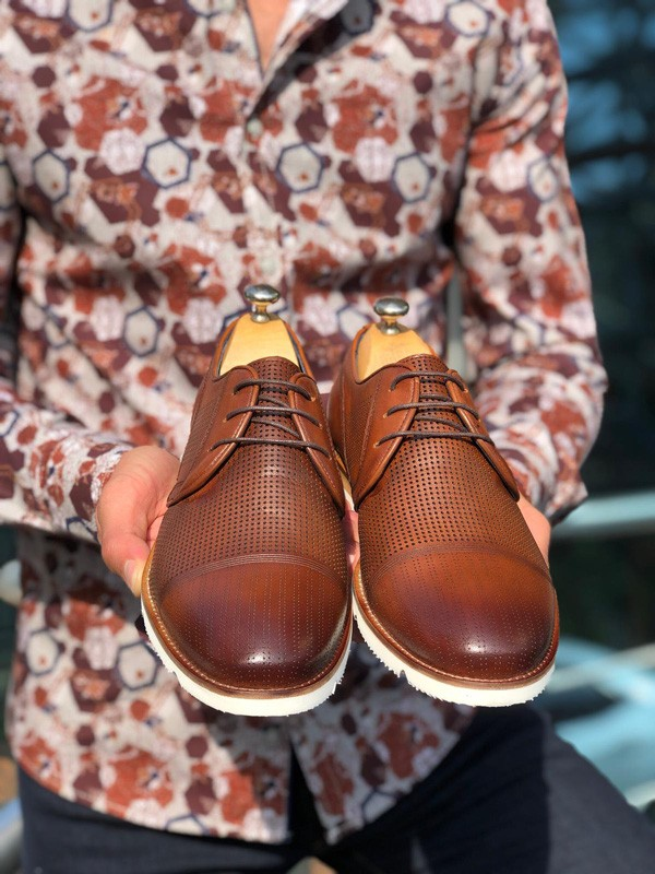 Brown Laced Cap Toe Oxford by GentWith.com with Free Shipping
