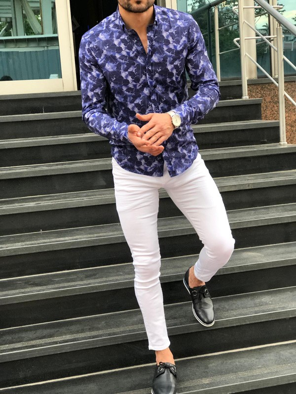 Blue Slim Fit Tropical Print Casual Shirt by GentWith.com