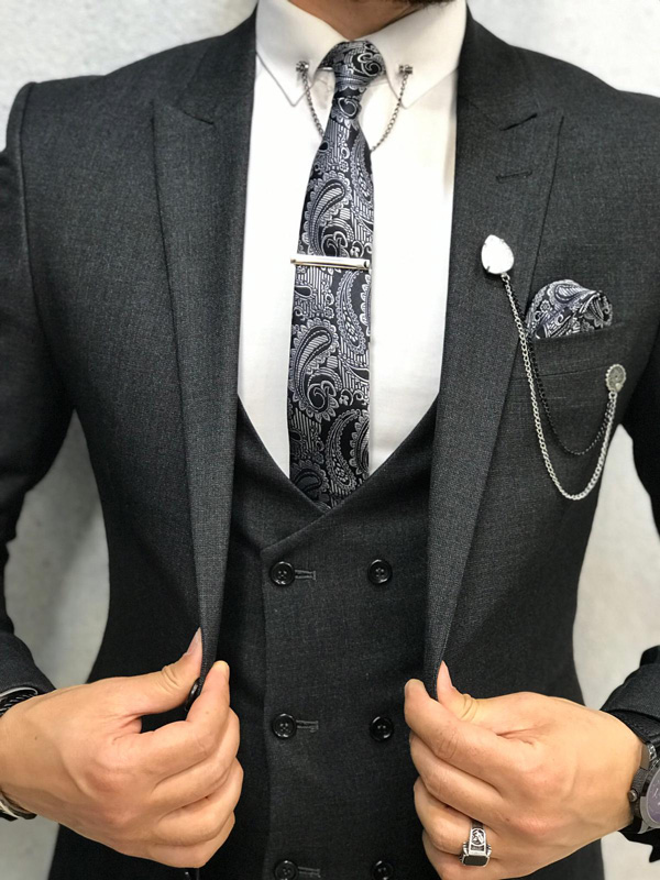 Dark Gray Slim Fit Suit by GentWith.com with Free Shipping