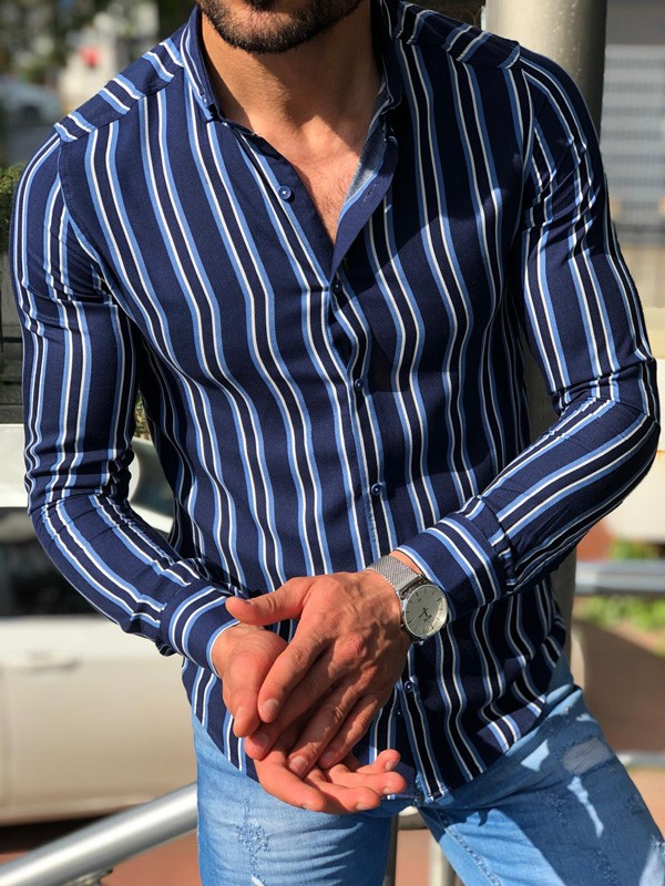 Blue Slim Fit Striped Casual Shirt by GentWith.com | Free Shipping