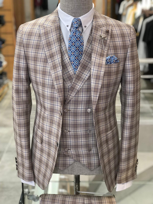 Brown Slim Fit Plaid Suit by GentWith.com with Free Shipping