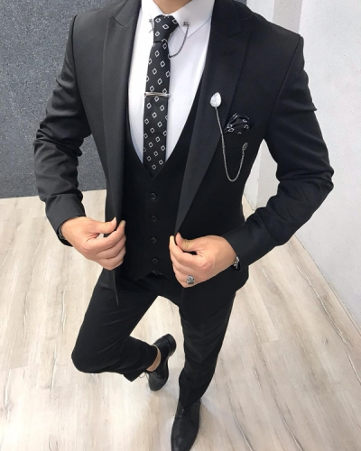 Black Slim Fit Suit by GentWith.com with Free Shipping
