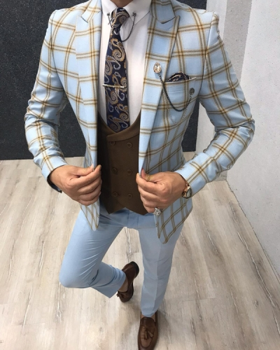 Blue Slim Fit Plaid Suit by GentWith.com with Free Shipping