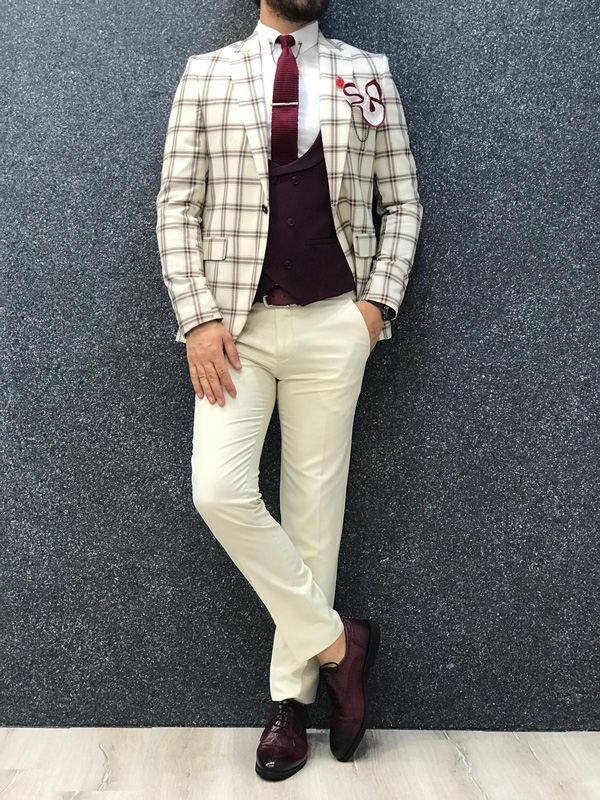 Cream Slim Fit Plaid Suit by GentWith.com with Free Shipping