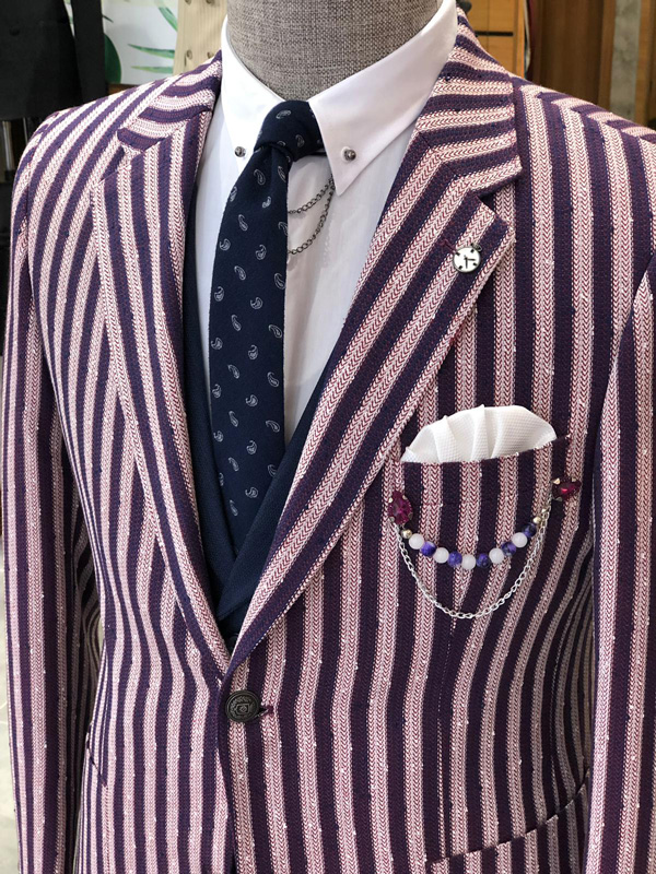 Claret Red Slim Fit Striped Suit by GentWith.com with Free Shipping