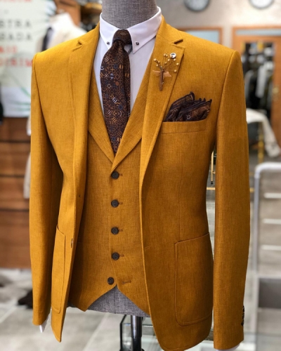 Mustard Slim Fit Suit by GentWith.com with Free Shipping