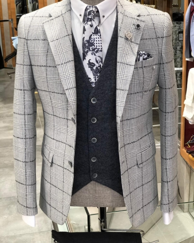 Anthracite Slim Fit Plaid Suit by GentWith.com with Free Shipping