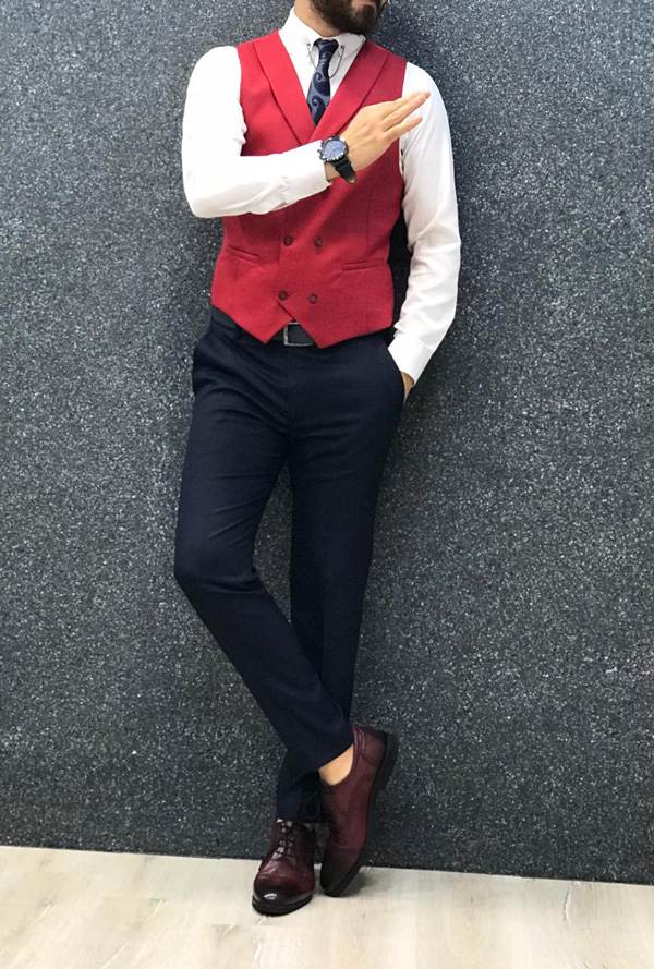 Red Slim Fit Striped Suit by GentWith.com with Free Shipping