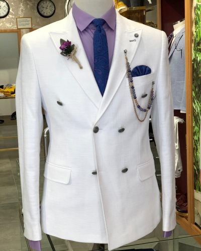 White Slim Fit Double Breasted Suit by GentWith.com | Free Shipping