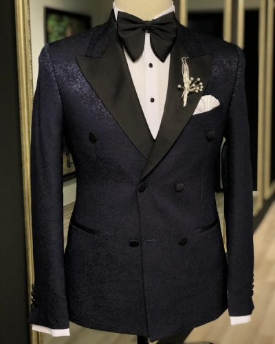 Navy Blue Peak Lapel Slim Fit Tuxedo by GentWith.com