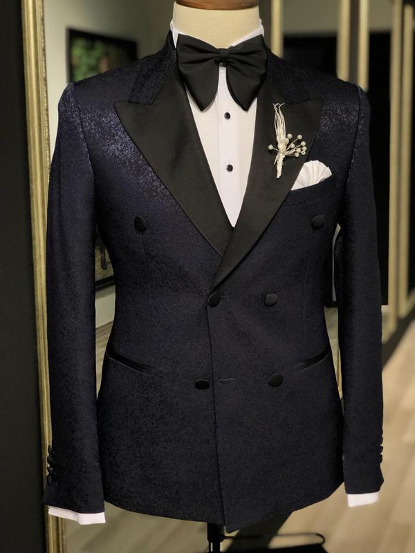 Navy Blue Peak Lapel Slim Fit Tuxedo by GentWith.com