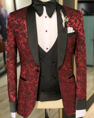 Claret Red Slim Fit Shwal Collar Tuxedo by GentWith.com